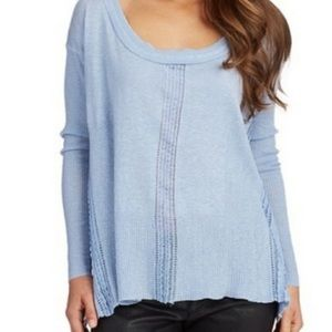 Free People Light Blue Oversized Sweater Hi Lo